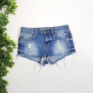 TOPSHOP Moto Daisy Distressed Shorts